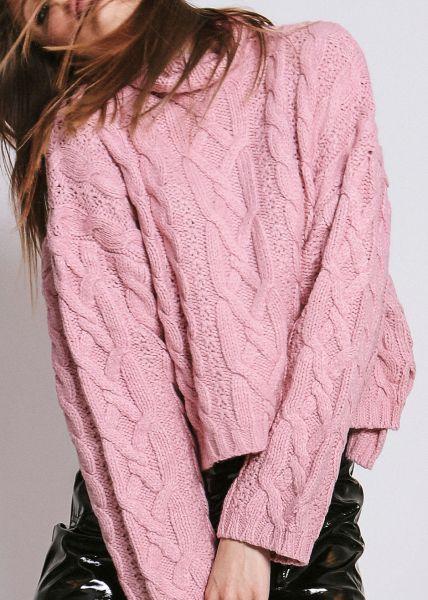 Zopf-Pullover, rosa