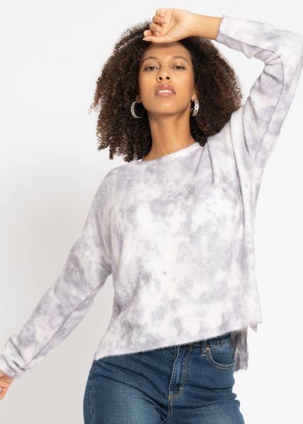 Lässiger Pullover mit Batik-Print, grau
