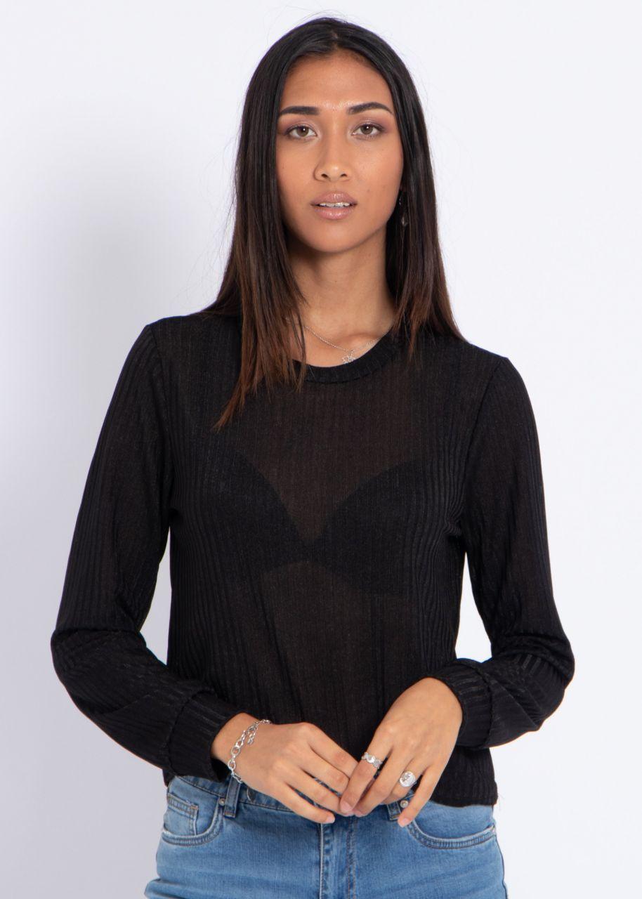 Fliessendes Rippenjersey-Shirt, schwarz