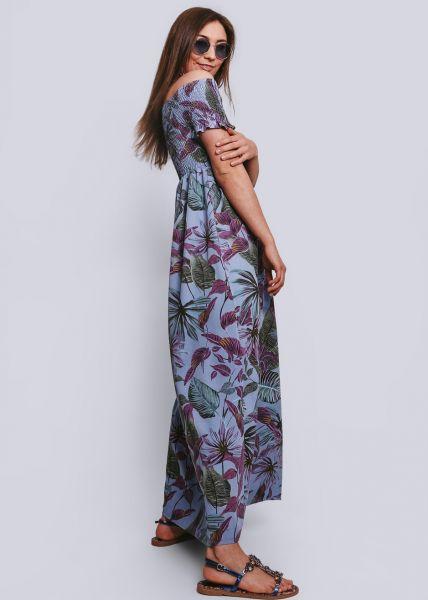 Schulterfreies Maxikleid mit Palmen-Print, hellblau