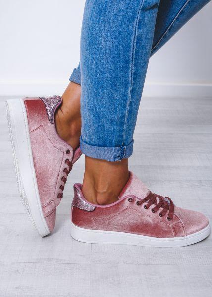 Velvet-Sneaker mit Glitzer, rosa