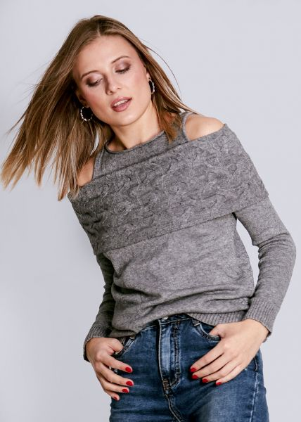Schulterfreier Pullover, grau
