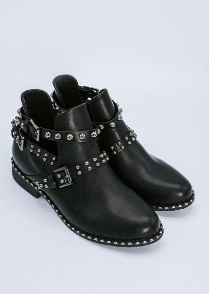 Boots mit Cut-Outs und Nietenbändern, schwarz