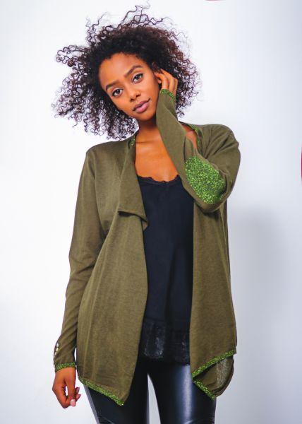 Cardigan mit Lurexdetails, grün