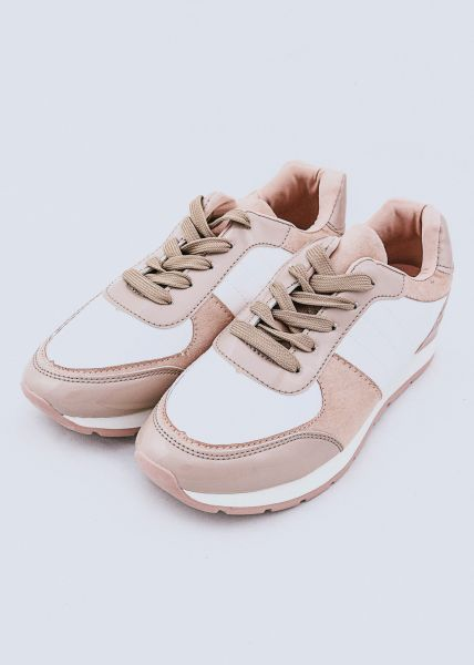 Sneaker mit Lackdetails, nude