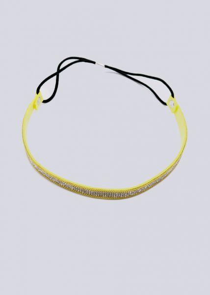 Haarband mit Glitzersteinen, gelb