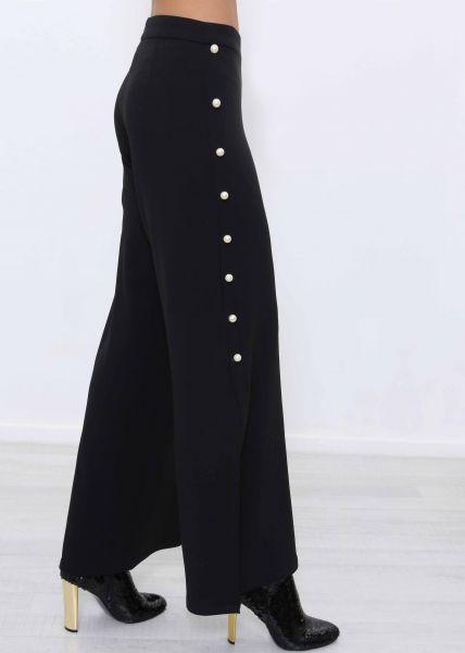 Fließende Hose mit Perlen, schwarz