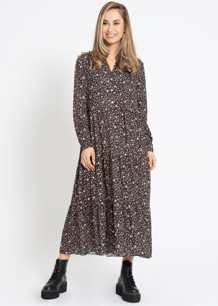 Midi Hängerchenkleid mit Print, schwarz