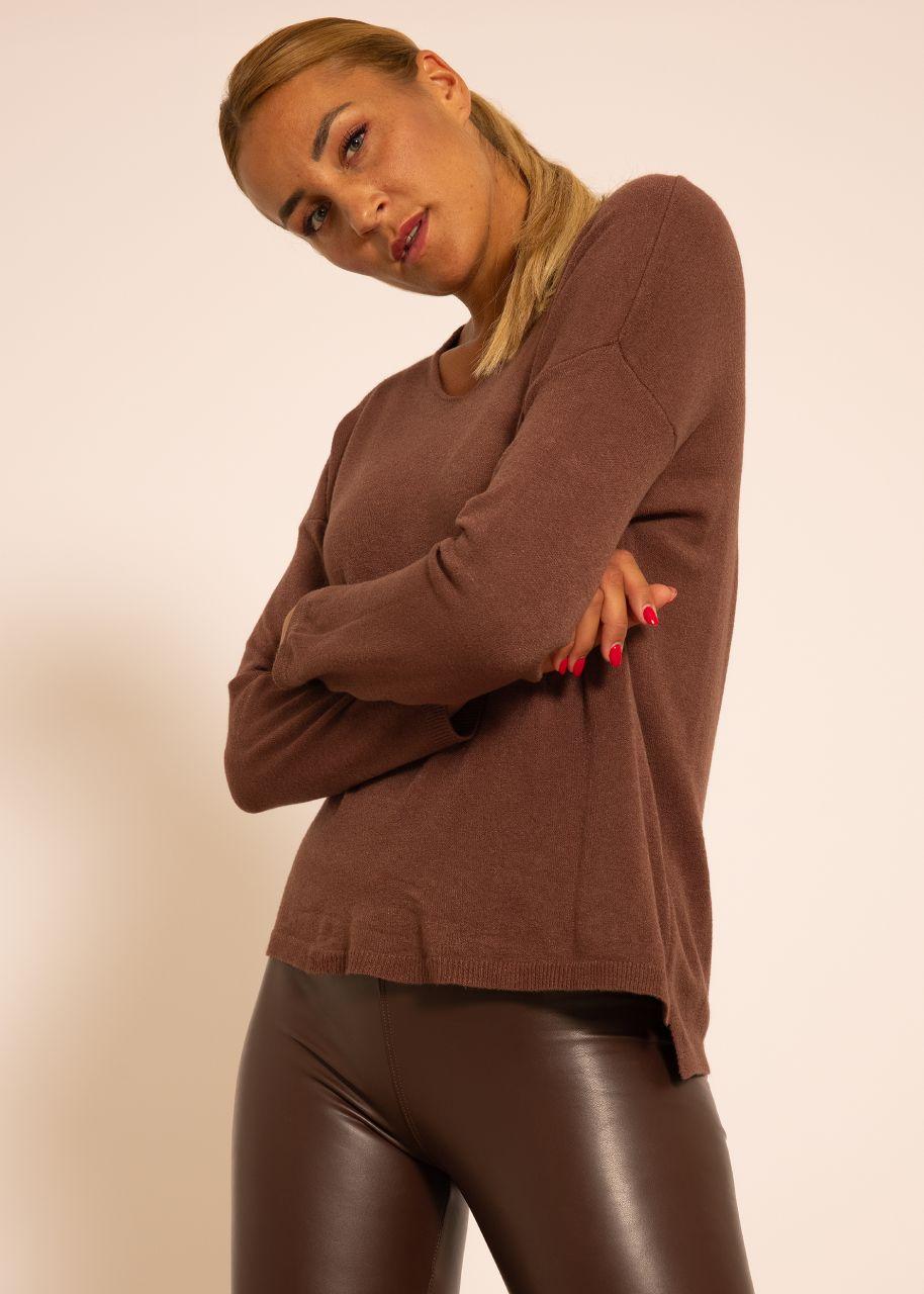 Oversize Pullover mit V-Ausschnitt, braun