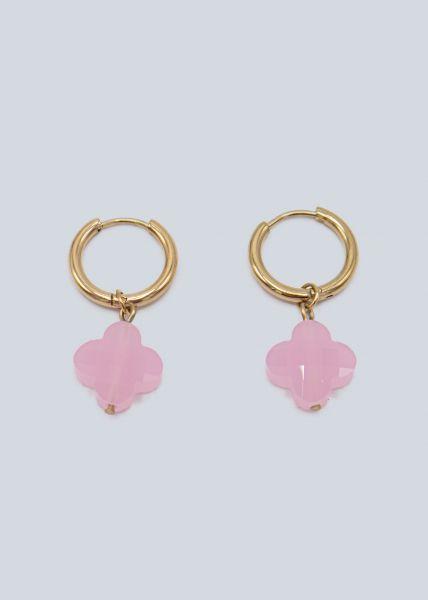 Mini-Creolen mit rosa Blume, gold