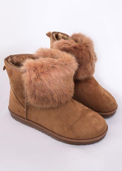 Winterboots mit Fake Fur, cognac