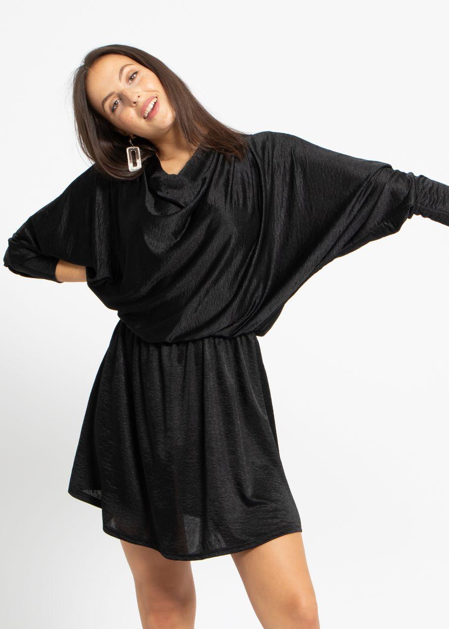 Mini Jersey-Kleid, schwarz