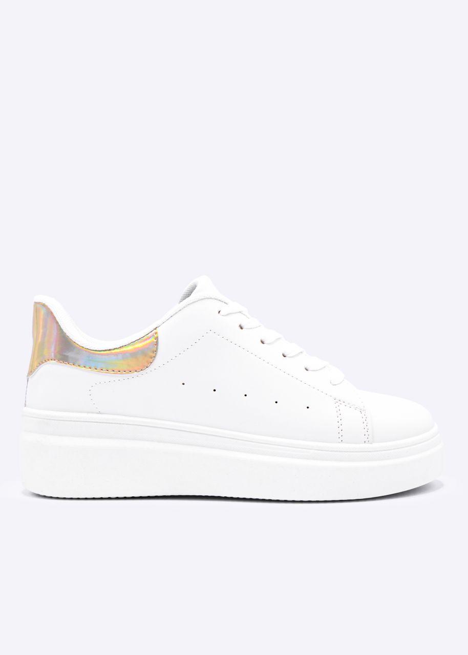 Sneaker mit metallic gold Ferse, weiß