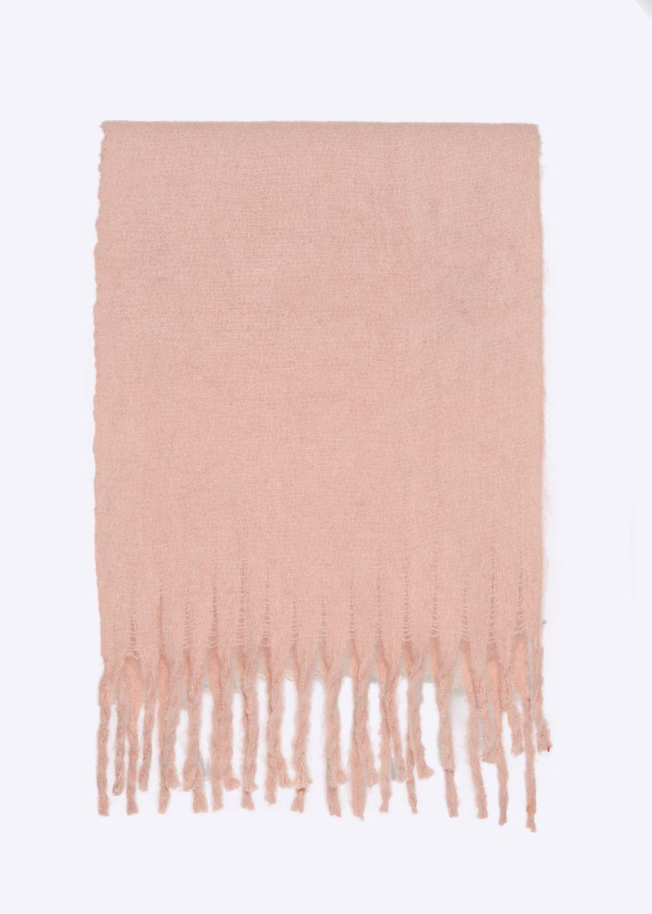 Schal mit langen Fransen, rosa