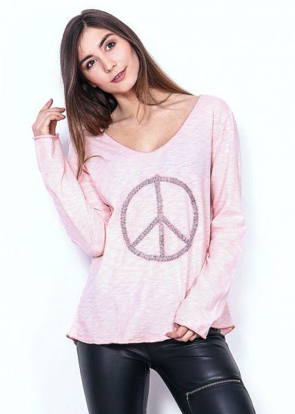 Lässiges Peace-Shirt, rosa