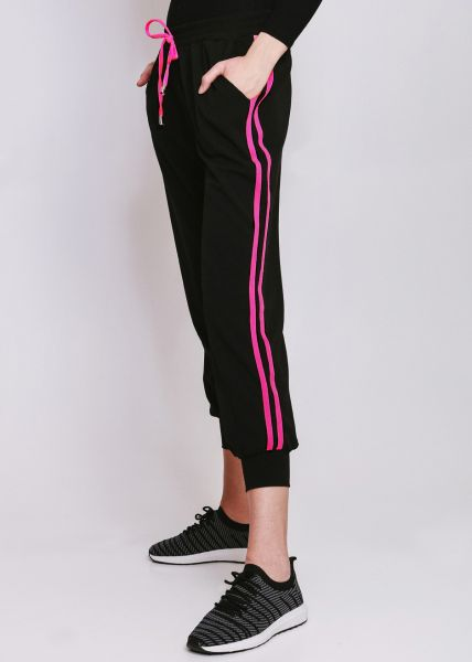 Loungepants mit neonpink Streifen, schwarz