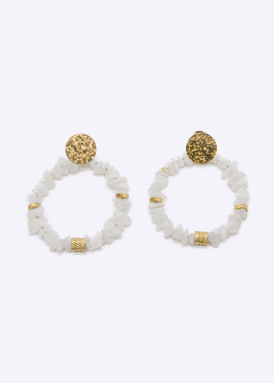 Ohrhänger mit weißen Jade Perlen, gold