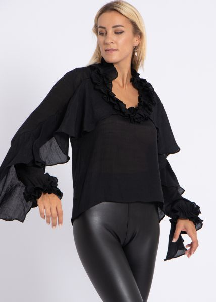 Volants-Bluse, schwarz