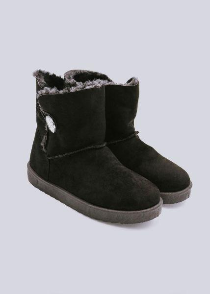 Fell-Boots mit Glitzerknopf, schwarz