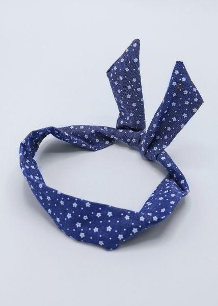 Geblümtes Haarband mit Draht, dunkelblau