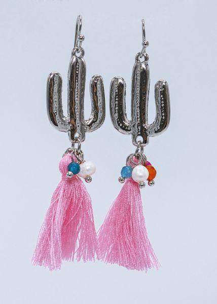 Ohrhänger mit Kaktus und rosa Quasten, silbern