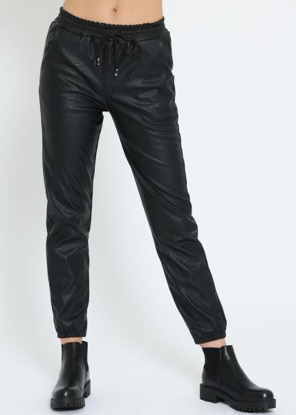 Leder-Hose, schwarz