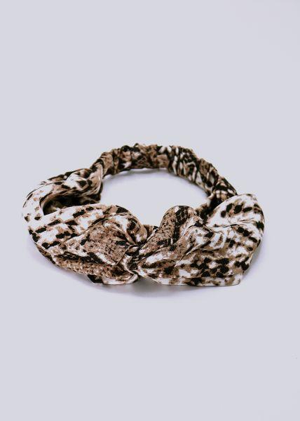 Haarband in Snake-Print, offwhite/braun