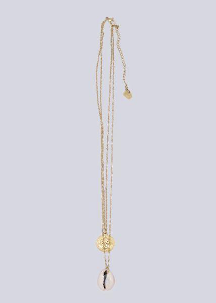 Kombinierte Halskette mit Muschel und Münze, gold