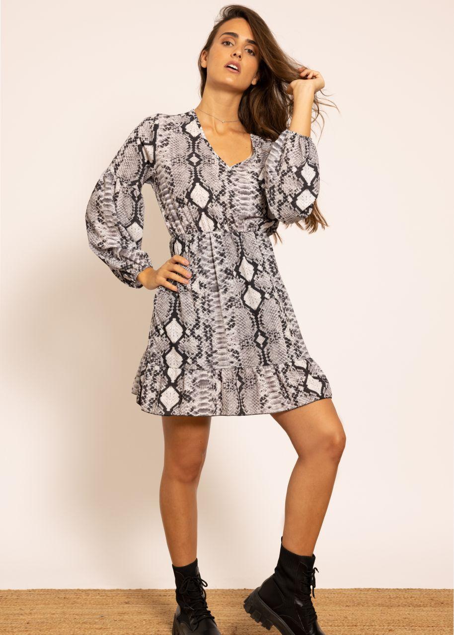 Kleid in Snake-Print, grau