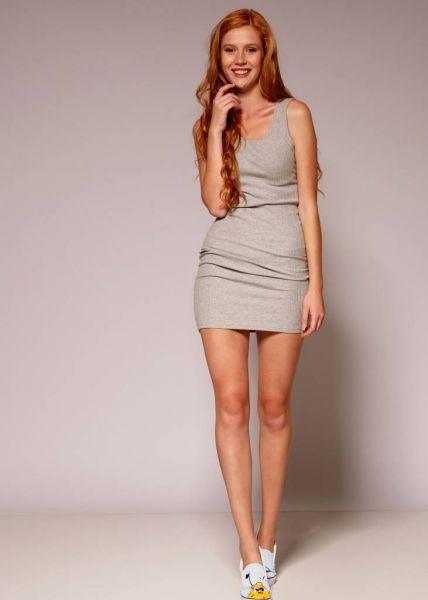 Rippenjersey-Kleid, grau