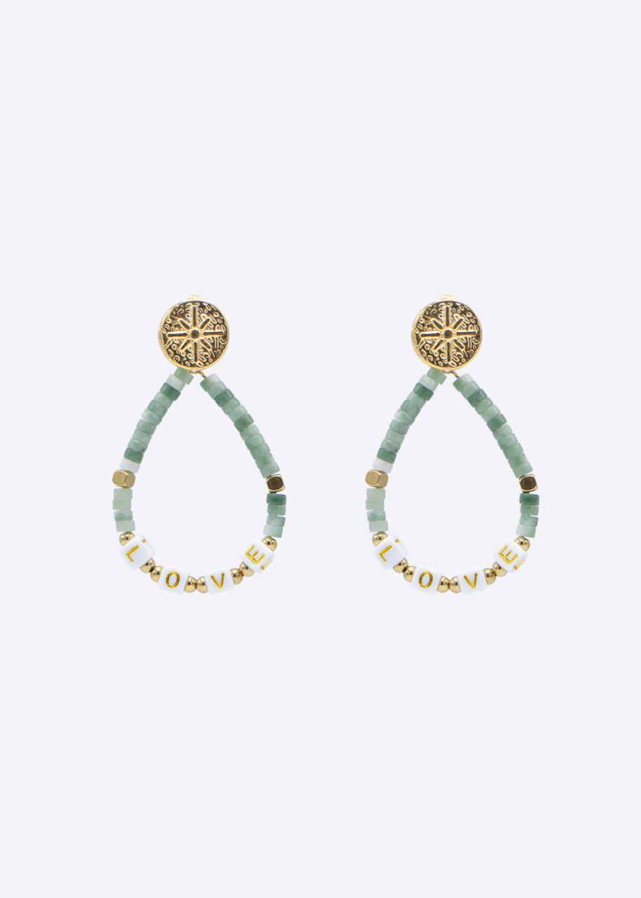 Ohrhänger mit Amazonit Perlen, gold