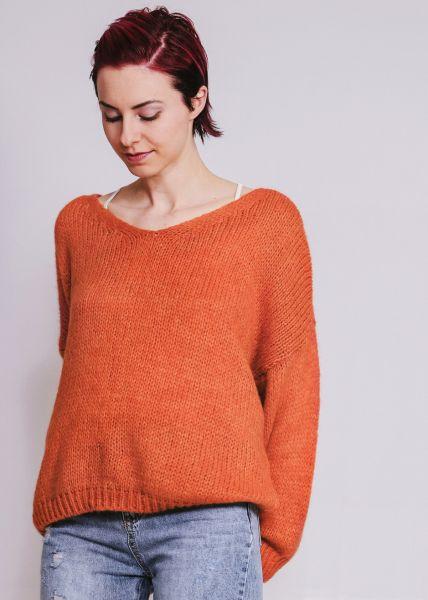 Pullover mit V-Ausschnitt, orange