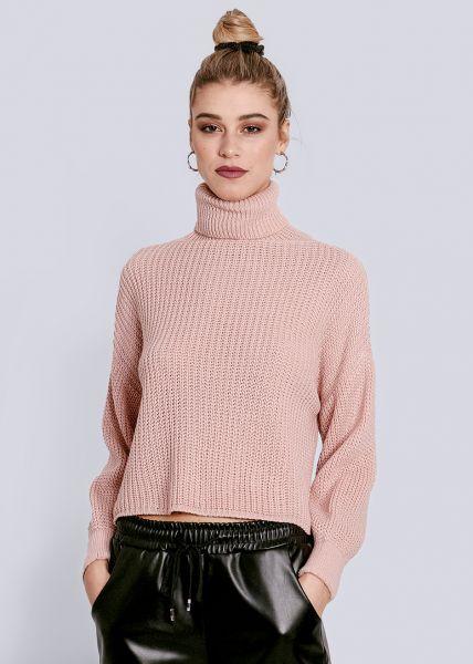 Rollkragen-Pullover, rosa