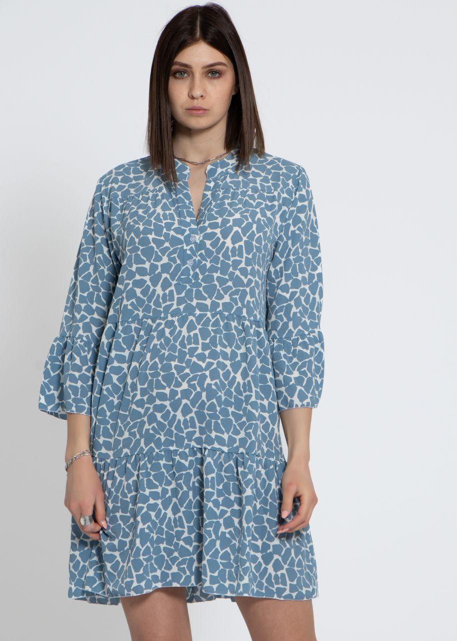 Hängerchenkleid mit Print, blau