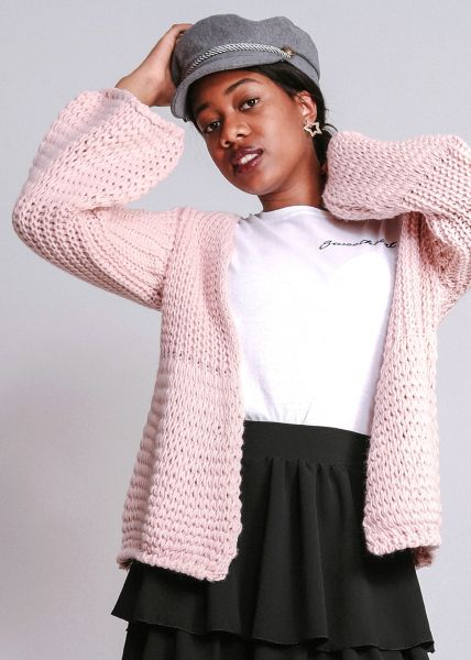 Strickjacke mit weitem Arm, rosa
