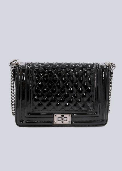 Lack-Tasche, gesteppt, schwarz