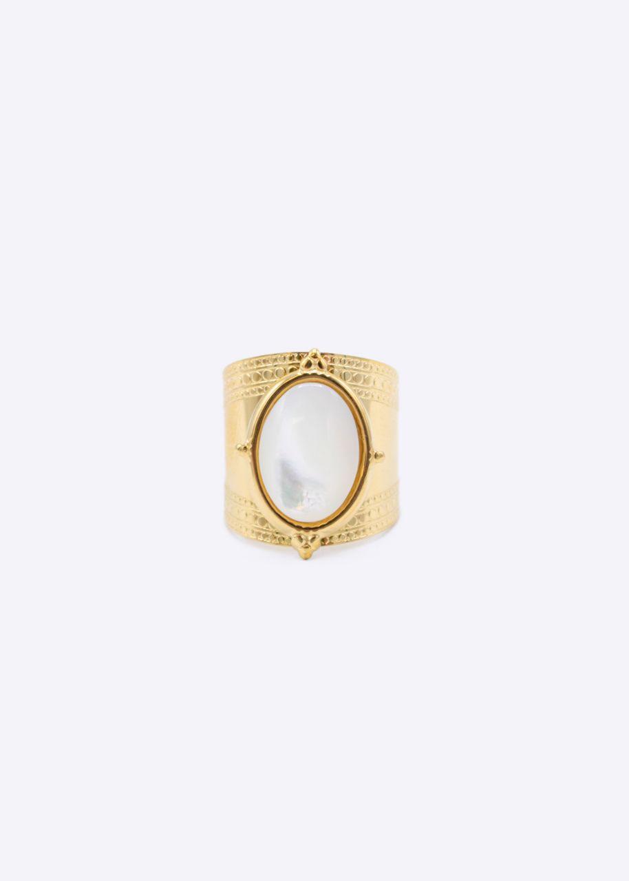 Ring mit Perlmutt Stein, gold