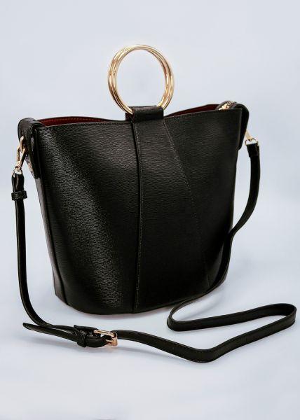 Handtasche mit goldenem Tragering, schwarz