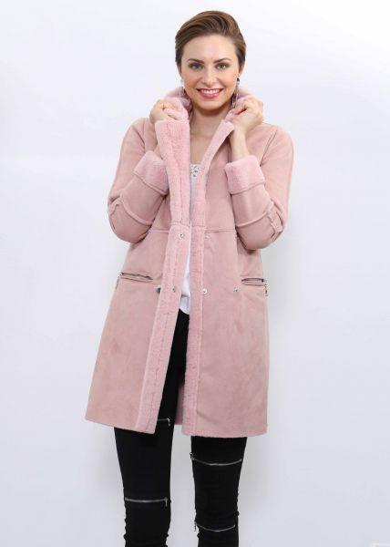 Velvet-Mantel mit Fake Fur, rosa