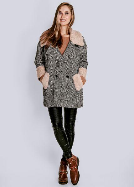 Jacke mit Kunstfell, schwarz/weiß