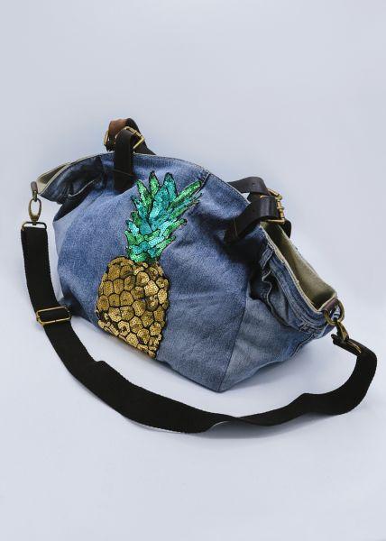 Jeans-Shopper mit Ananas, blau
