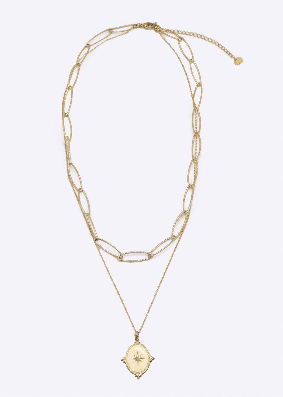Kombinierte Halskette mit Anhänger, gold