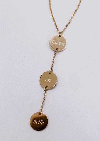 Halskette mit 3 Anhängern, gold