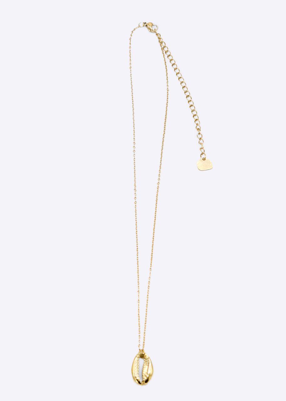 Halskette mit Muschel-Anhänger, gold