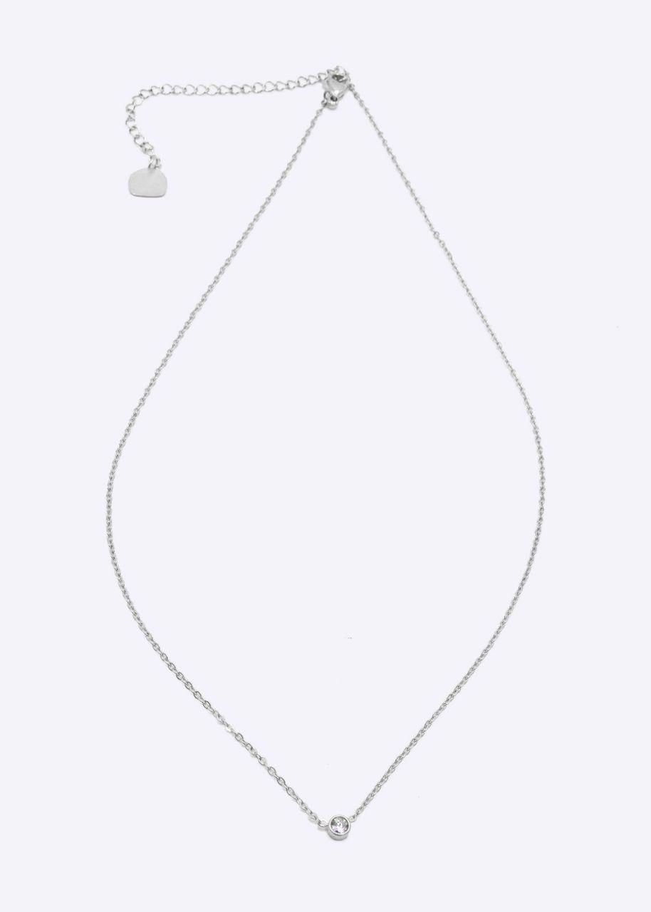 Halskette mit Glitzerstein, silber