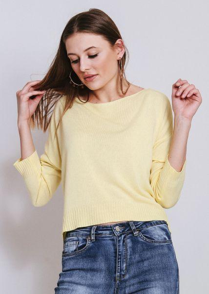 Lässiger Pullover mit weitem Ausschnitt, gelb