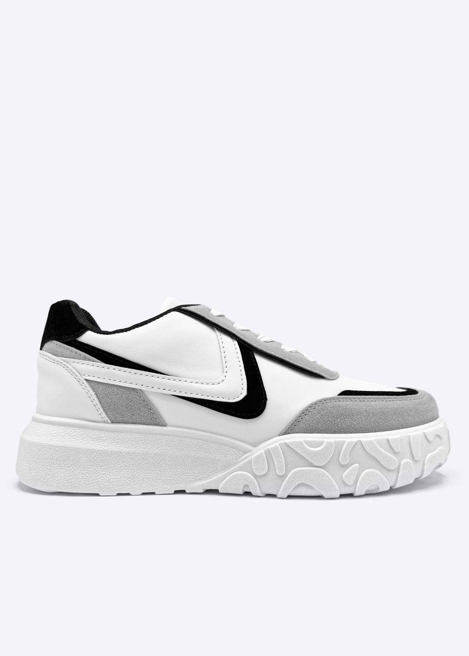 Plateau Sneaker, weiß/grau/schwarz
