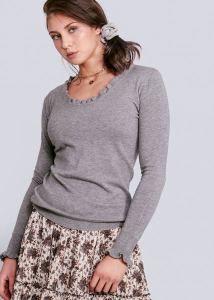 Pullover mit Rüschen, grau