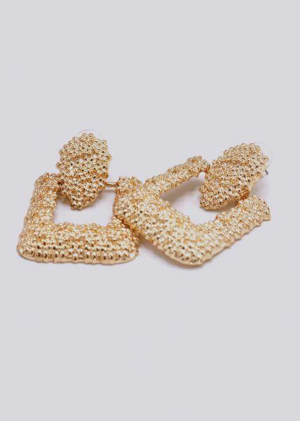 Ohrringe mit hängender Brosche, gold