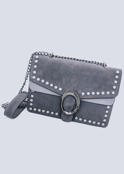 Große Überschlagtasche mit Nieten, grau